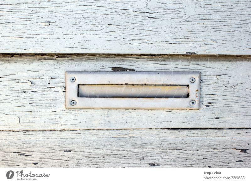 ... briefkasten... Tür Briefkasten Holz Metall Rost Linie Kommunizieren schreiben warten Häusliches Leben alt authentisch eckig einfach historisch schön blau