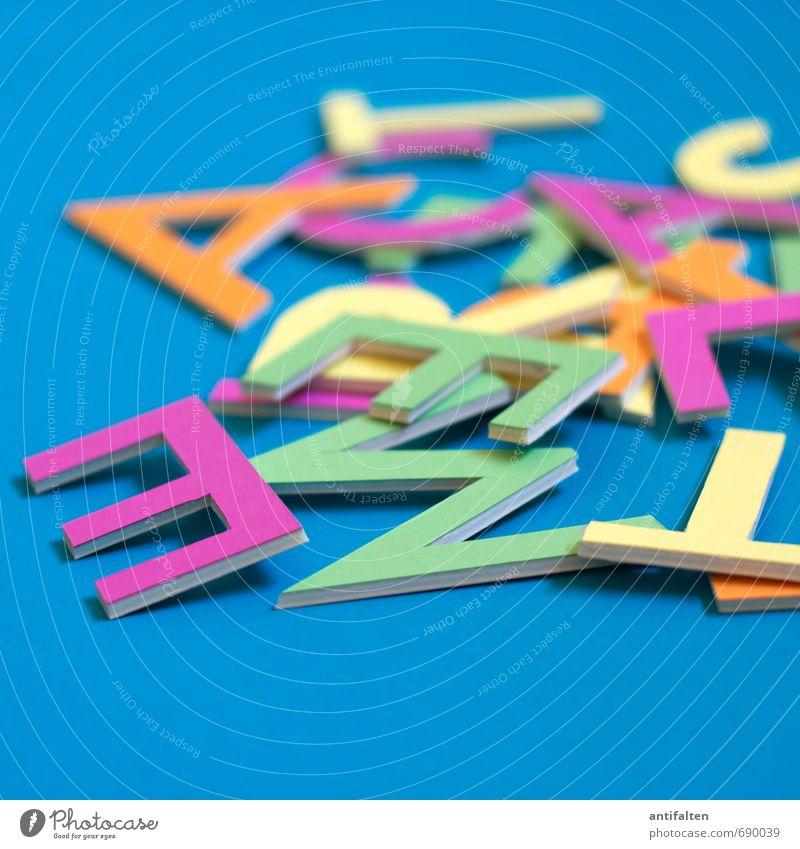 Buchstabensalat grün Freude gelb Kunst liegen rosa Freizeit & Hobby orange Dekoration & Verzierung Schriftzeichen verrückt Fröhlichkeit Papier Idee Lebensfreude