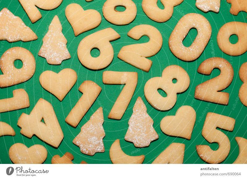 Plätzchen-Knolling Weihnachten & Advent grün Essen 1 Lebensmittel braun 2 Dekoration & Verzierung Schriftzeichen Ernährung Herz Ziffern & Zahlen 4