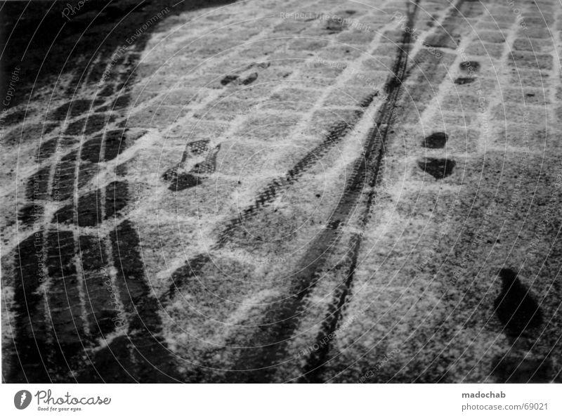 I WAS HERE | spuren schnee snow winter trail track kalt cold Winter Schnee Bewegung Suche Verkehr Asphalt Spuren Vergänglichkeit frieren Fußspur schreiten