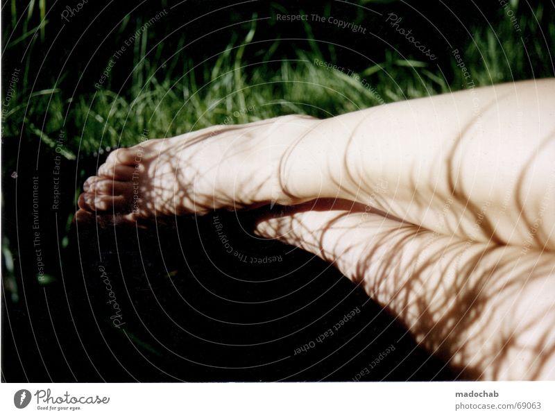 SLEEPING IN HAPPINESS Mensch Frau Natur nackt grün Sommer Erholung Umwelt Gefühle Wiese Gras feminin Beine liegen Haut Romantik