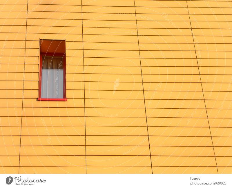 guckloch Fenster klein schmal Nachbar Gardine Wand leer sonnenbeschienen Physik Muster regelmässig karg Wärme täfer Abend Linie Detailaufnahme