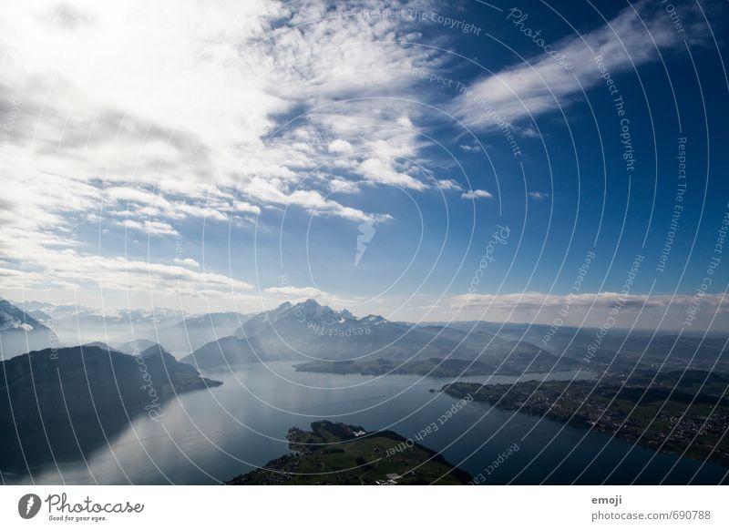 deep Umwelt Natur Urelemente Erde Luft Wasser Himmel Schönes Wetter Alpen Berge u. Gebirge See natürlich blau Rigi Schweiz Vierwaldstätter See Tourismus