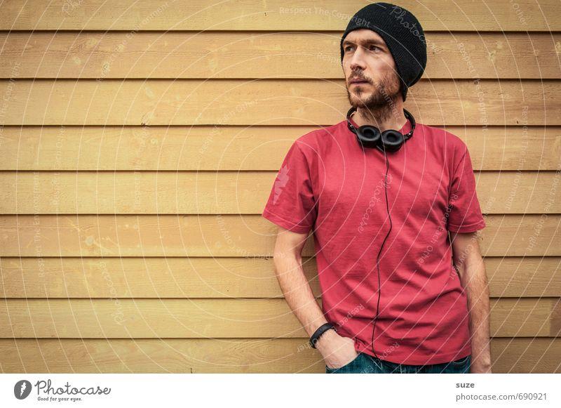 On-Off-Music Mensch Jugendliche Mann schön rot Freude 18-30 Jahre Junger Mann gelb Erwachsene Wand Mauer Stil Mode Freizeit & Hobby Fassade