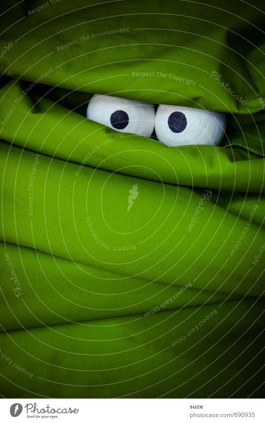 Ach du Schreck! grün dunkel Gesicht Auge lustig außergewöhnlich Freizeit & Hobby Angst Lifestyle Design verrückt beobachten Neugier geheimnisvoll Stoff Suche