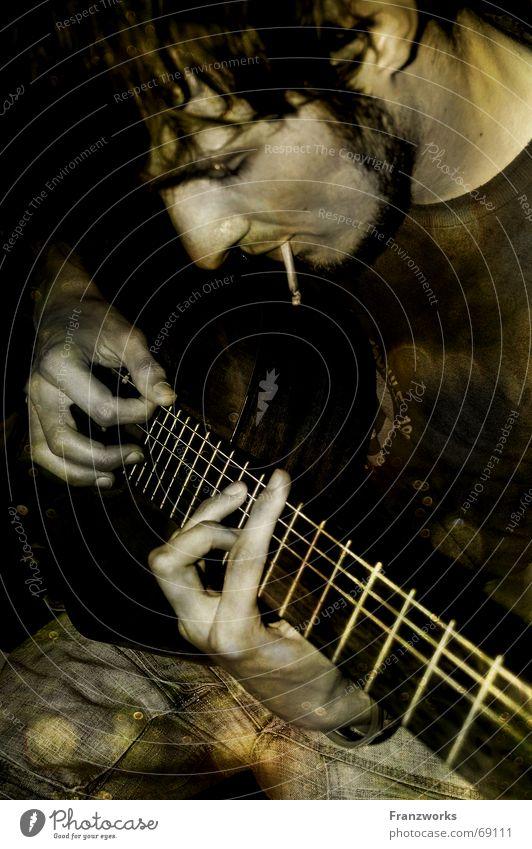 Golden Age of Wild West...II ruhig Einsamkeit Musik Zufriedenheit Bart Zigarette Gitarre Typ Griff lässig Feuerstelle Bündel Rock `n` Roll