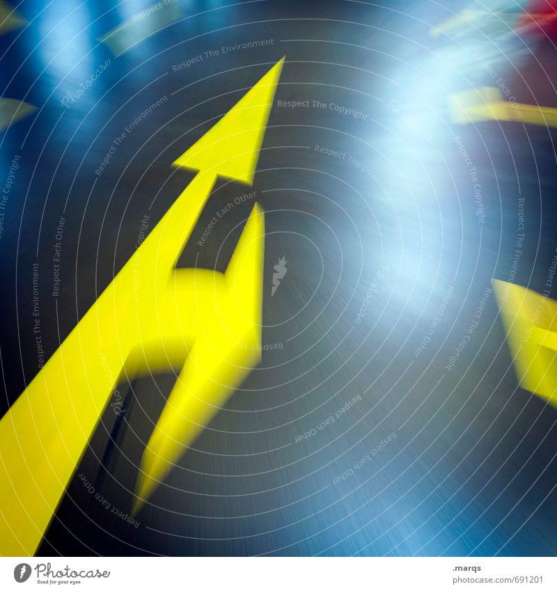 Orientierung Stil Verkehr Verkehrswege Straßenverkehr Autofahren Wege & Pfade Zeichen Schilder & Markierungen Linie Pfeil Coolness verrückt gelb grau schwarz