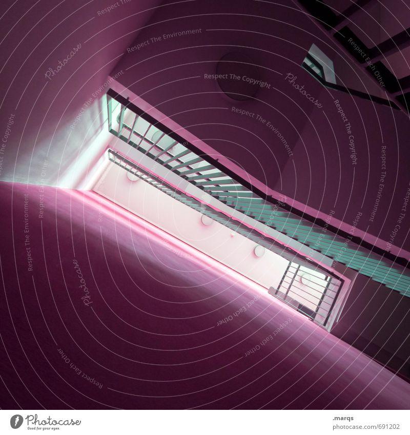 Untergeschoss elegant Stil Design Innenarchitektur Architektur Treppenhaus Treppengeländer eckig trendy modern neu oben violett Farbe Perspektive Ziel dunkel