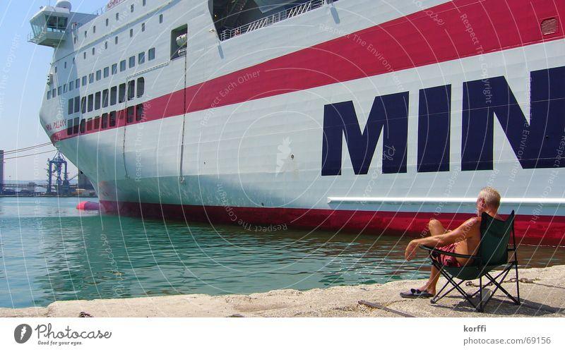 fähre Fähre Wasserfahrzeug Portwein ruhig Meer ferry Hafen sitzen