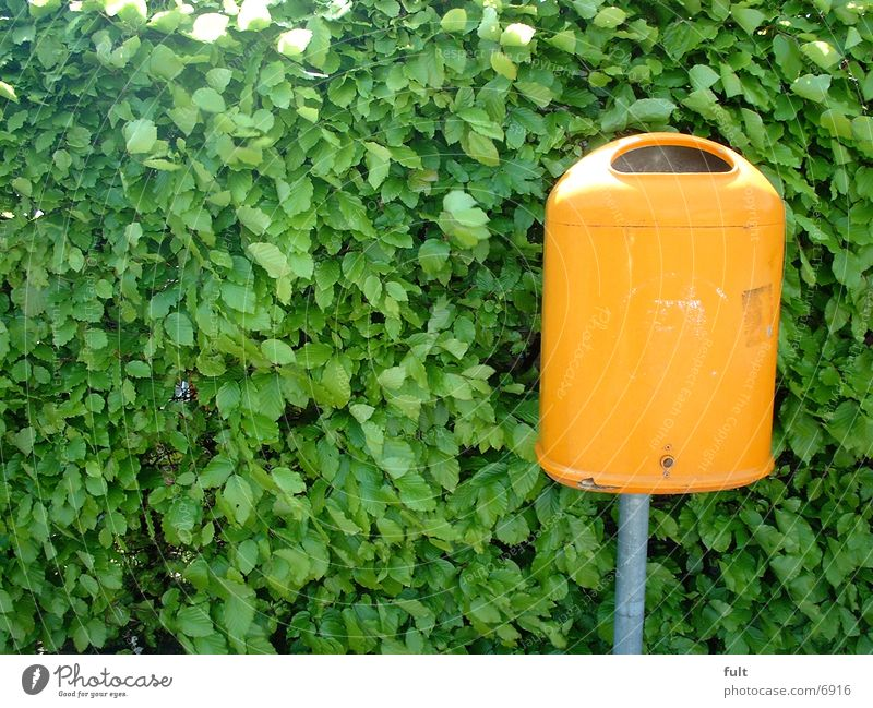 Mülltonne grün Blatt orange Dinge Müllbehälter