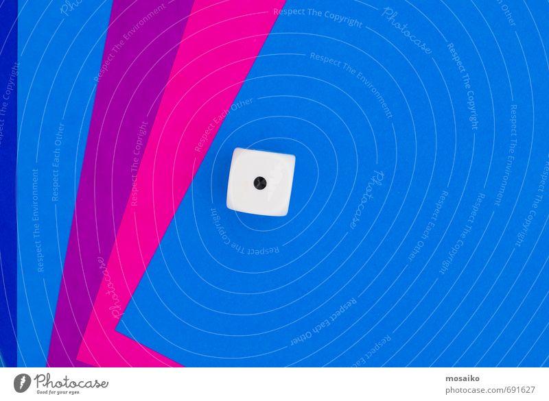 Eins blau weiß Farbe Freude 1 Spielen Stil Glück rosa Freizeit & Hobby Design Erfolg Ziffern & Zahlen Zeichen Würfel graphisch