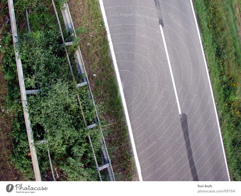 Parallelismus Am Rand Hecke parallel weiß Feld Leitplanke fahren Geschwindigkeit Landstraße Licht bringen Straße oben strifen Brücke driven Eisenbahn kein