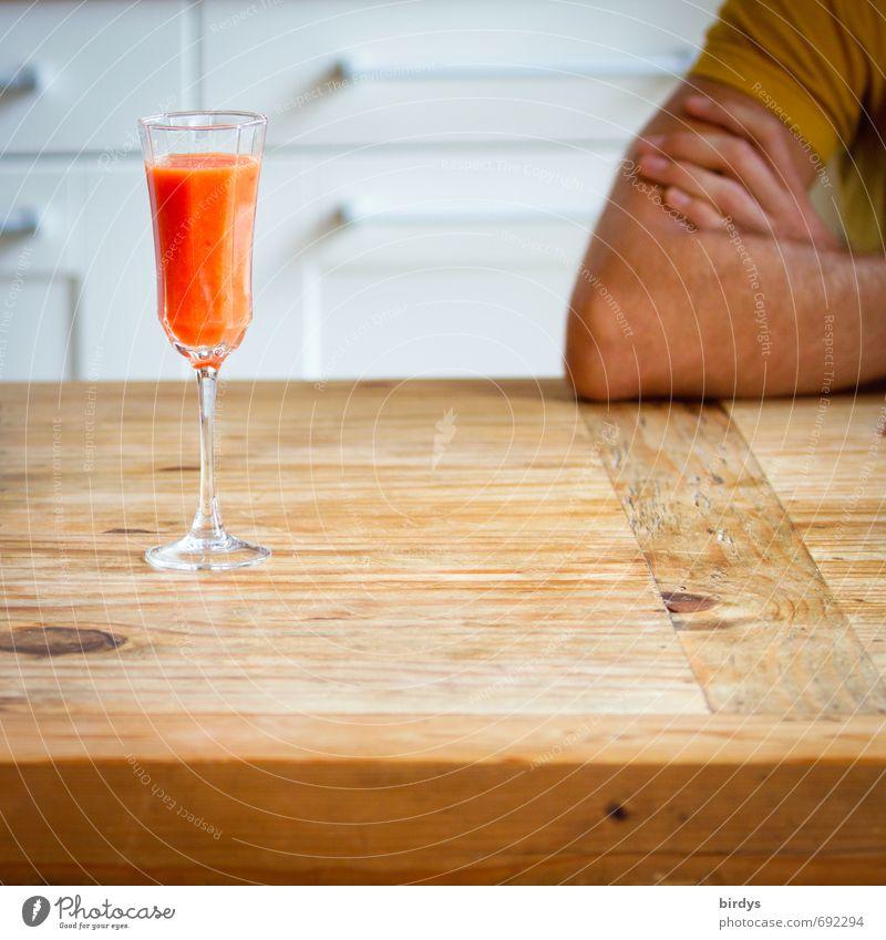 Darf ich jetzt endlich an die Vitamine ? Erfrischungsgetränk Saft Orangensaft Glas Sektglas Lifestyle Stil Gesundheit Gesunde Ernährung Häusliches Leben