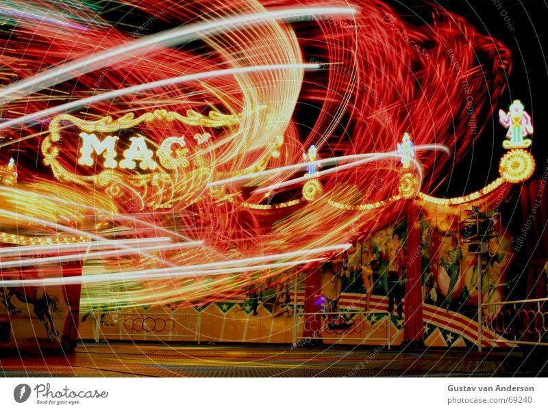 Magic Jahrmarkt mehrfarbig Nacht Langzeitbelichtung Leipzig rund Licht karusell Bewegung Schwindelgefühl Freude Musik