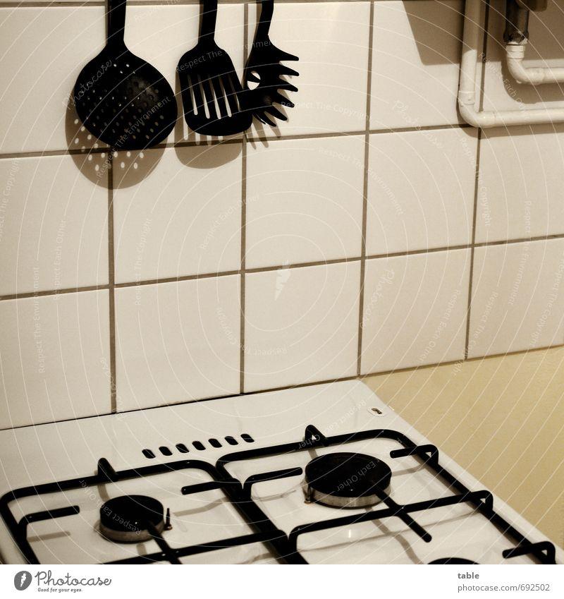 Eigener Herd . . . weiß schwarz Metall Wohnung Häusliches Leben Energiewirtschaft stehen Sauberkeit Küche Kunststoff Gastronomie Fliesen u. Kacheln