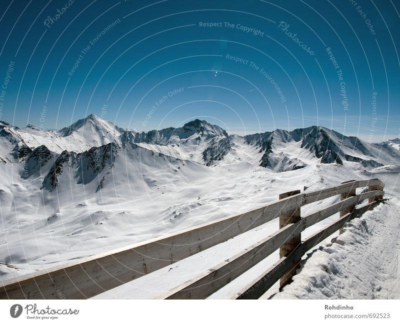 Panoramazaun Himmel Natur Ferien & Urlaub & Reisen Erholung Landschaft Ferne Winter Berge u. Gebirge Schnee Holz Horizont Freizeit & Hobby Schönes Wetter Gipfel