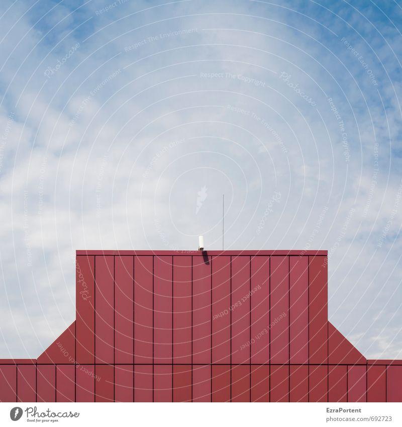 observer Technik & Technologie Umwelt Himmel Wolken Haus Industrieanlage Bauwerk Gebäude Architektur Mauer Wand Fassade Antenne Linie Streifen blau rot weiß