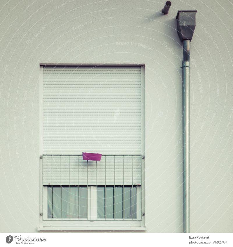 Rückzug Frühling Haus Einfamilienhaus Bauwerk Gebäude Mauer Wand Fassade Fenster Dachrinne Linie kalt trist grau violett rosa weiß Einsamkeit Verbitterung
