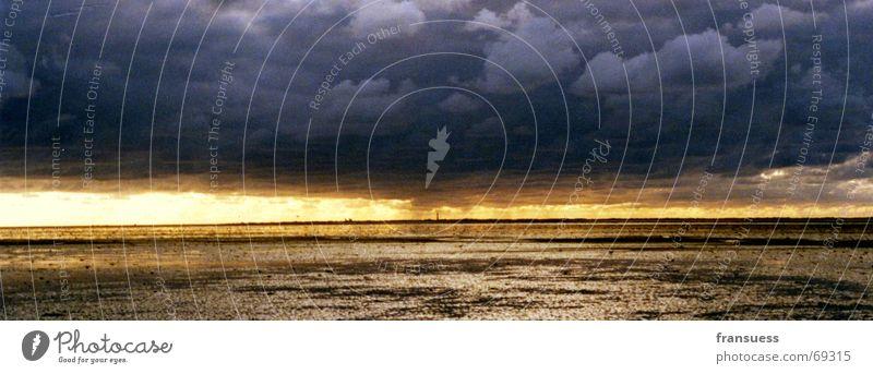 leuchtturm ich komme Himmel Sonne Meer Wolken wandern Insel Nordsee Schlamm Wattenmeer