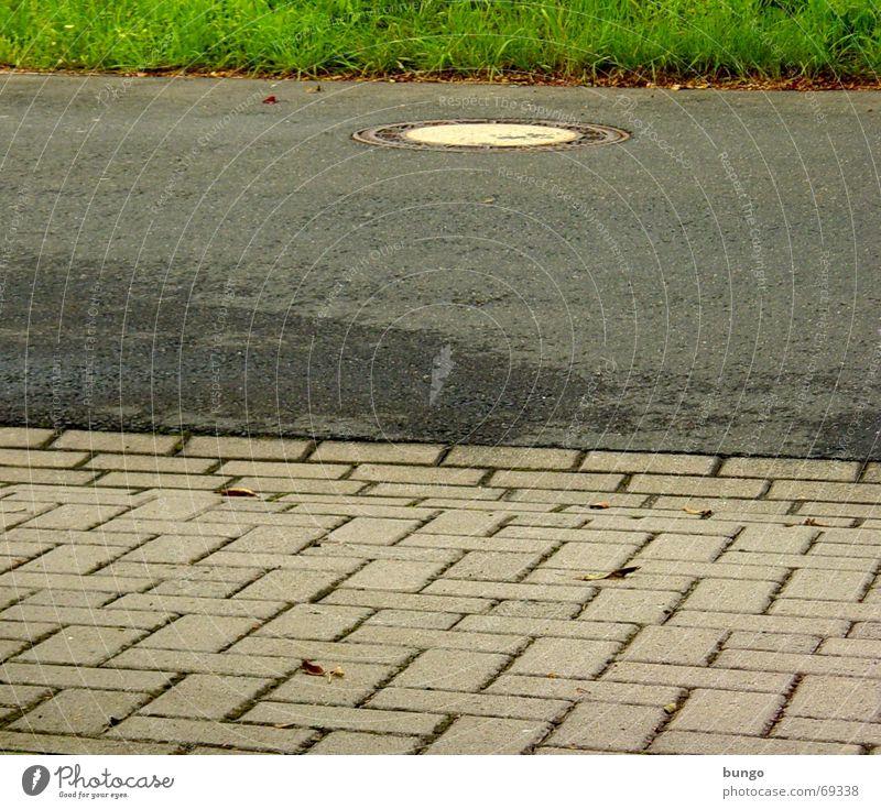via urbana Straße Wiese Gras grau Regen Verkehrswege Kopfsteinpflaster Halm Am Rand Gully Pflastersteine Teer Wasserrinne Regenrinne