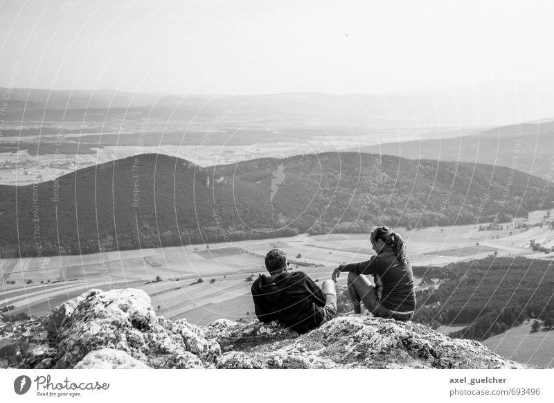 Ausblick Mensch Himmel Natur Ferien & Urlaub & Reisen Sommer Landschaft Ferne Umwelt Berge u. Gebirge feminin Freiheit Felsen Horizont maskulin Tourismus