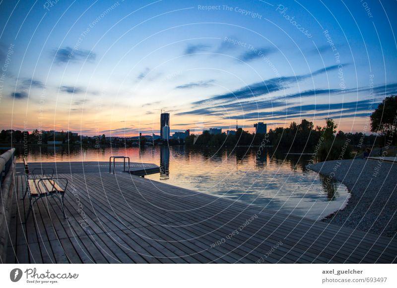 Danube Sunset Landschaft Wasser Himmel Wolken Sonnenaufgang Sonnenuntergang Sommer Küste Flussufer Strand Hauptstadt Skyline Holz Zufriedenheit Erholung Stil