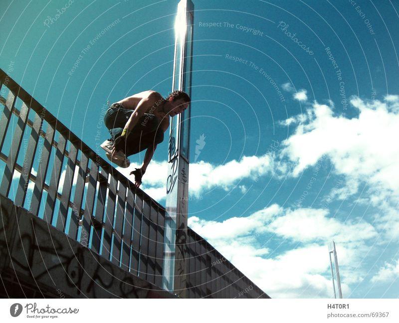 Monkey Jump Himmel Sport Freiheit springen Stil fliegen Aktion Unbekümmertheit Le Parkour