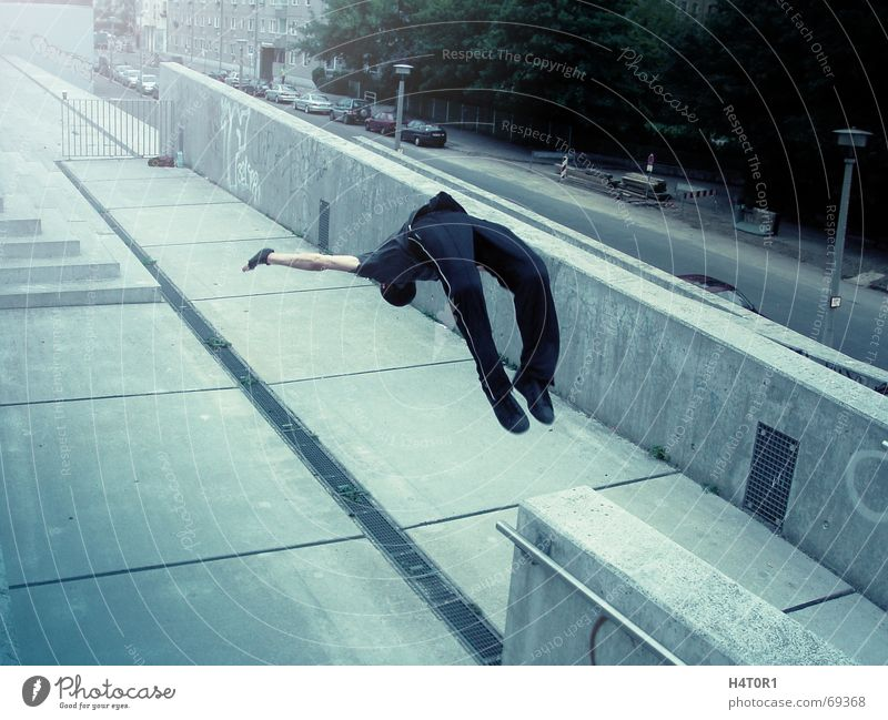 Backflip Jack Stadt Sport springen Stil Akrobatik Salto Le Parkour Rückwärtssalto