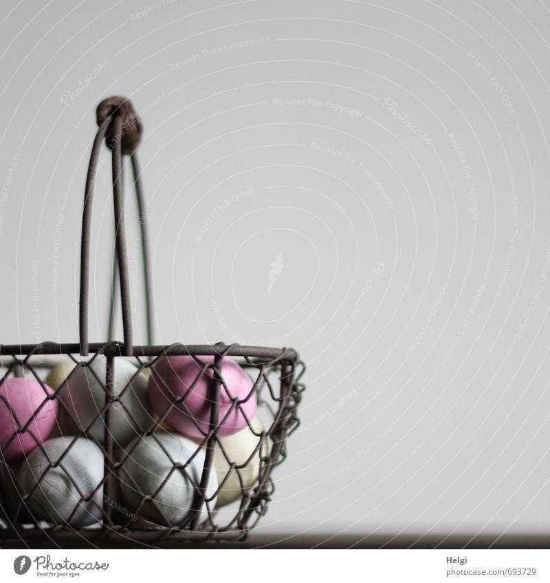 ei ei ...eierkorb schön weiß grau außergewöhnlich braun Lebensmittel Metall rosa Kindheit Dekoration & Verzierung ästhetisch Ernährung einfach Kreativität