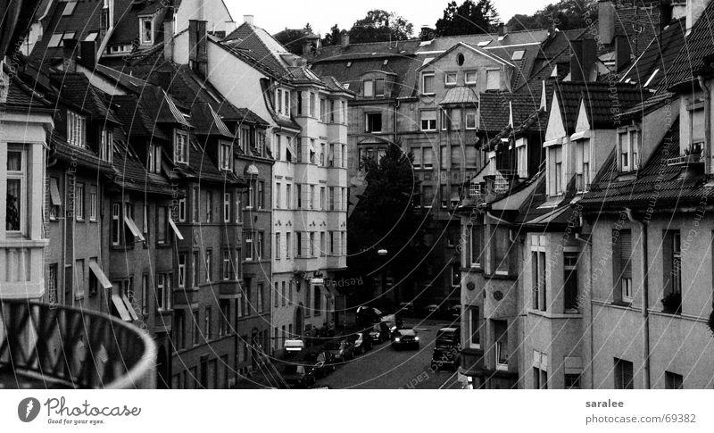 stuttgart Stuttgart Haus Symmetrie Geometrie Fenster Aussicht Stimmung alt Reihe Schwarzweißfoto b/w Straße überblicken Architektur