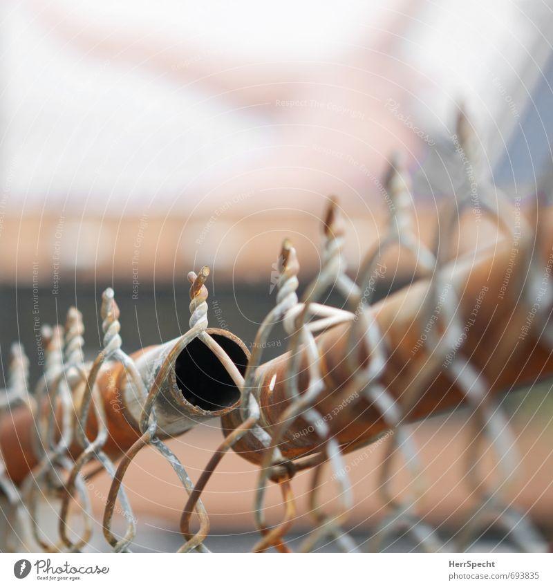 Steckverbindung failed alt Stadt grau braun Metall Zaun Rost Grenze Eisenrohr New York City Stecker Maschendrahtzaun fehlerhaft