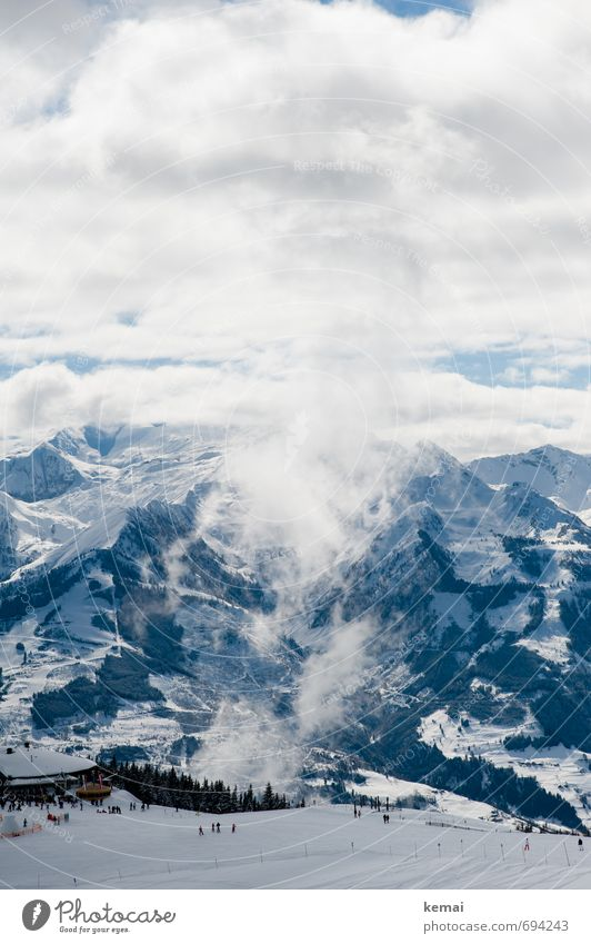 Skizirkus Himmel Natur Ferien & Urlaub & Reisen blau weiß Landschaft Wolken Ferne Winter kalt Umwelt Berge u. Gebirge Schnee Freiheit Felsen Freizeit & Hobby