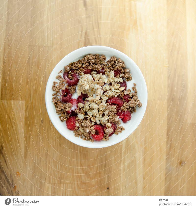 Moin. Frühstück. Lebensmittel Milcherzeugnisse Frucht Getreide Müsli Himbeeren Ernährung Bioprodukte Vegetarische Ernährung Slowfood Schalen & Schüsseln