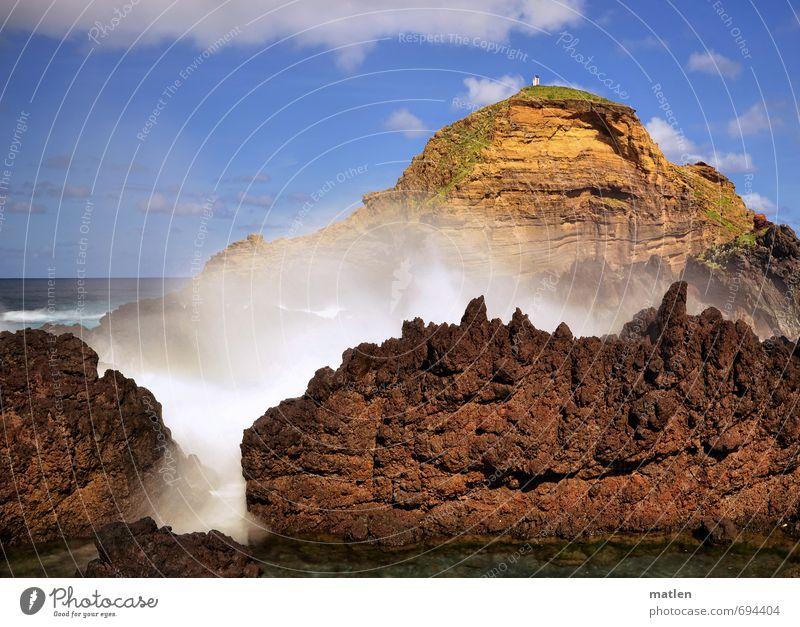 action Natur Landschaft Wasser Himmel Wolken Horizont Sonne Frühling Wetter Schönes Wetter Wind Felsen Berge u. Gebirge Wellen Küste Fjord Meer blau braun gelb