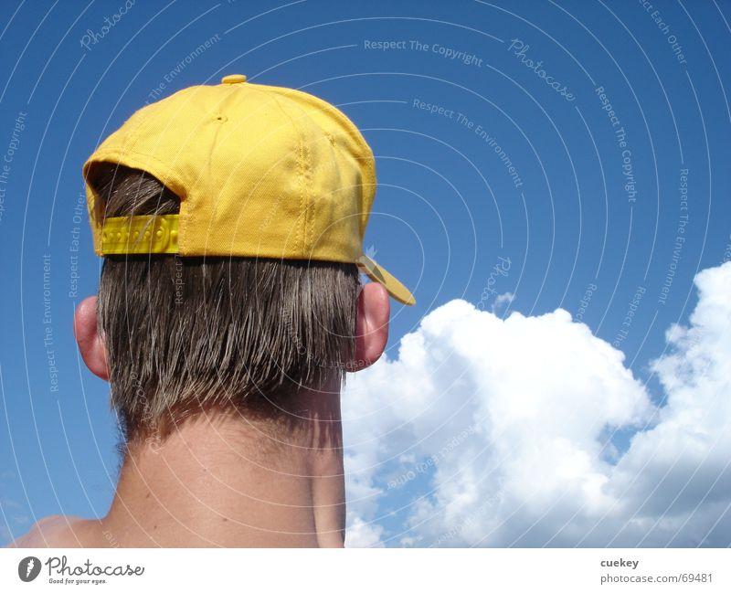 180 Grad blau Sommer Ferien & Urlaub & Reisen Wolken gelb Kopf Ohr Hut Mütze Hals rückwärts blau-weiß