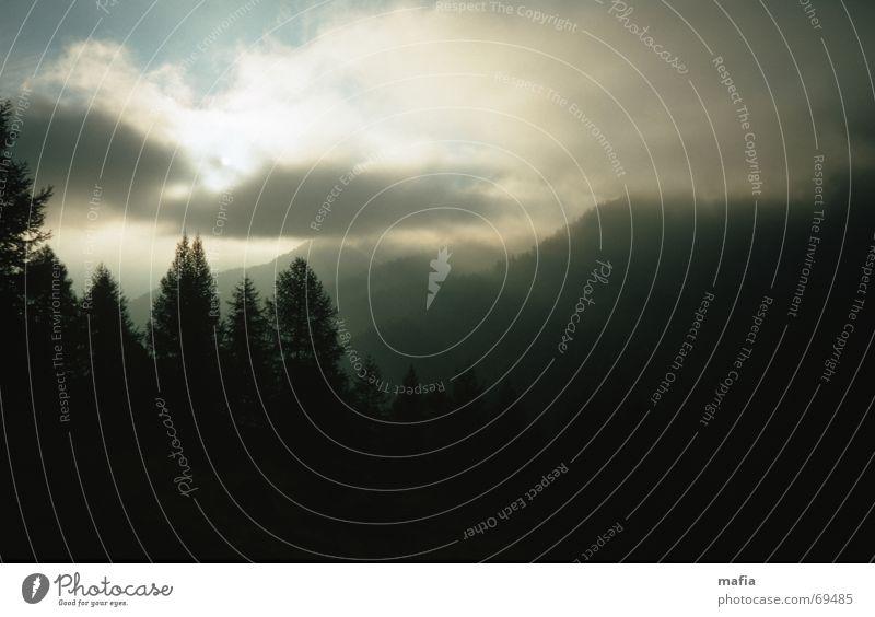 Wetterumschwung Licht Wolken Baum Wende Schatten Berge u. Gebirge Himmel Landschaft Sonne Alpen