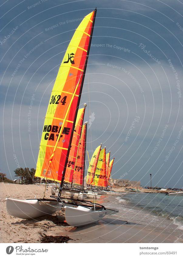 Wassersport Strand ruhig Wellen mehrere Strommast Segel Windstille Gischt gestrandet Katamaran