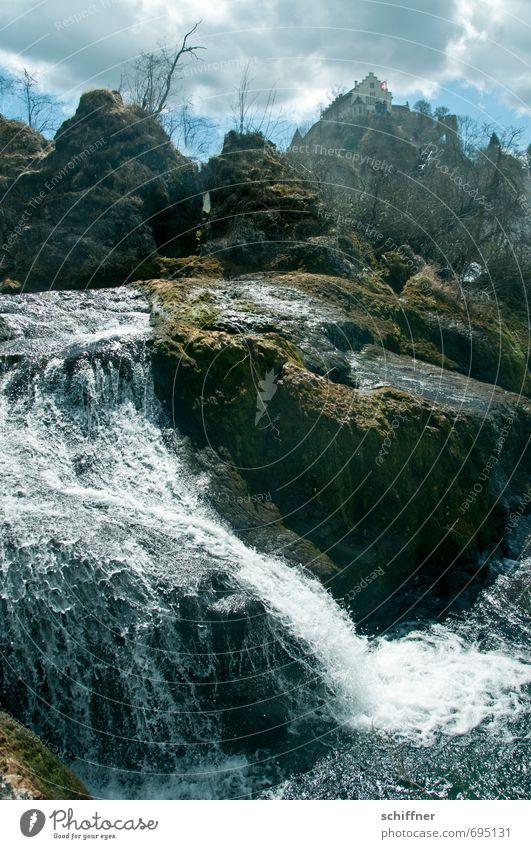 Was für ein Rheinfall! Natur Pflanze Baum Landschaft Wolken Haus Umwelt Berge u. Gebirge außergewöhnlich Sträucher nass Schönes Wetter Fluss historisch