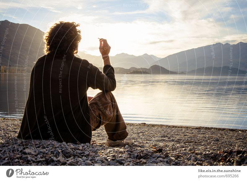 zum dahinschmelzen. Natur Jugendliche Ferien & Urlaub & Reisen Mann Sommer Erholung Landschaft ruhig Ferne Strand Junger Mann Erwachsene Leben Freiheit See Freizeit & Hobby