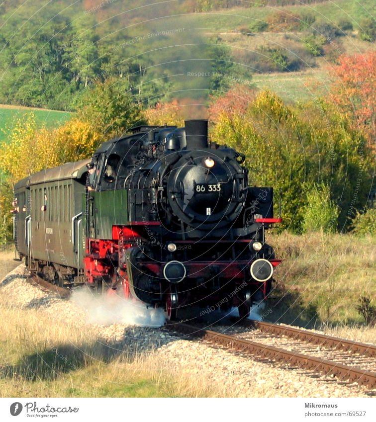Dampflok Natur Ferien & Urlaub & Reisen Herbst Linie Verkehr Eisenbahn fahren Güterverkehr & Logistik Gleise Idylle Rauch Tal Wasserdampf Lokomotive