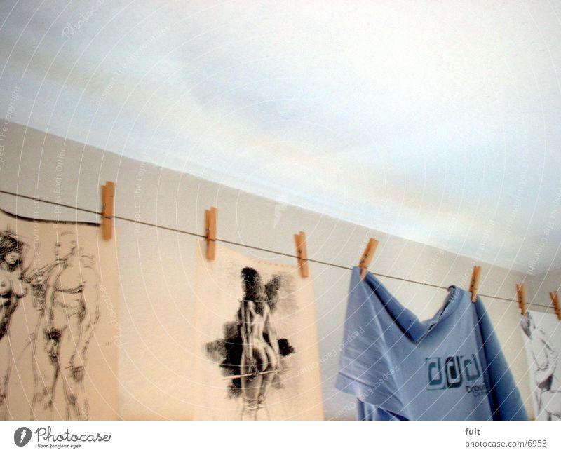 Wäscheleine Blatt T-Shirt Dinge Draht