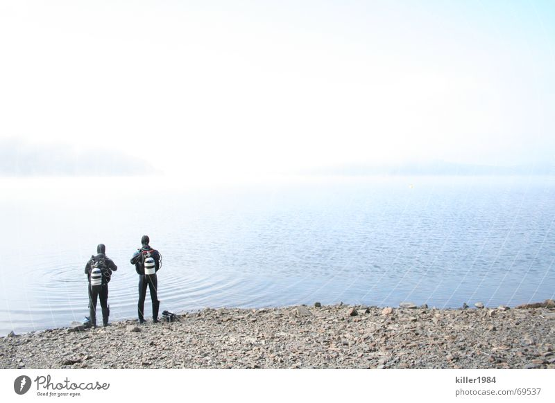 Allein am weiten weiten See Taucher Ederstausee Nebel tauchen Tauchgerät Freundschaft nass kalt Morgen Wolken Freiheit Landschaft Wasser Flüssigkeit Himmel