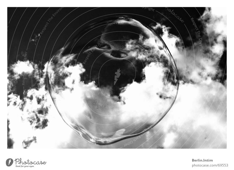Bubbles Himmel weiß Wolken schwarz Blase Seife