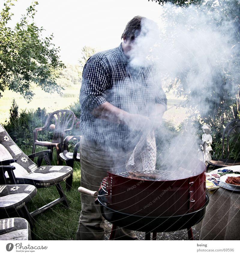 Feng Shui Snack Sommer Wolken Wiese Garten Freizeit & Hobby Tisch Stuhl Liege Bier Club Rauch Grillen Kochen & Garen & Backen Abgas Fleisch Grill
