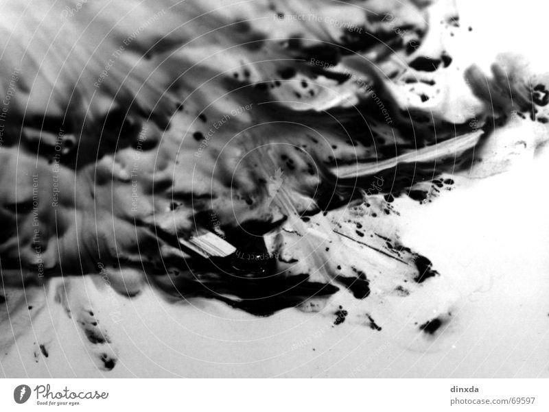 farbrausch weiß schwarz Farbe Bewegung Wellen dreckig Flüssigkeit feucht Fleck Verlauf