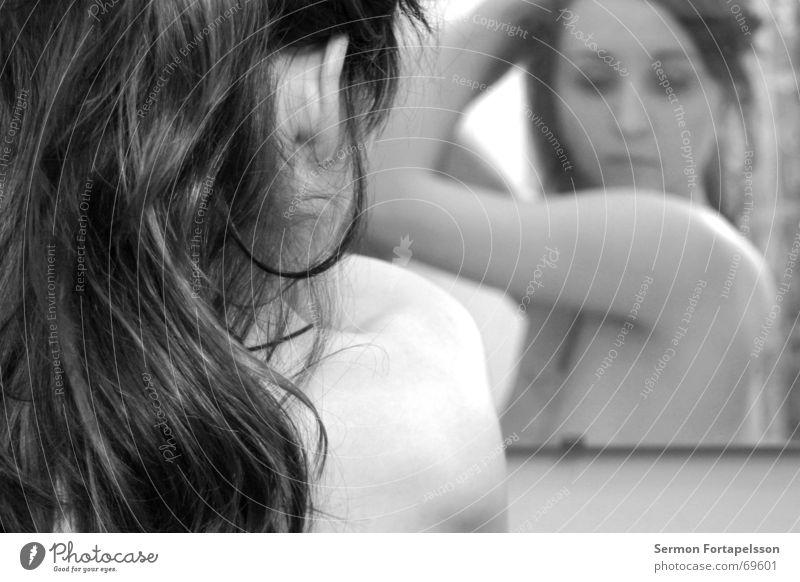 ||| emily ||| 4816 ||| Frau nackt rot Spiegel Haare & Frisuren feminin Emily Fabrik Vorhang Haarfarbe Rouge Bad träumen Spiegelbild Schulter langhaarig Stil