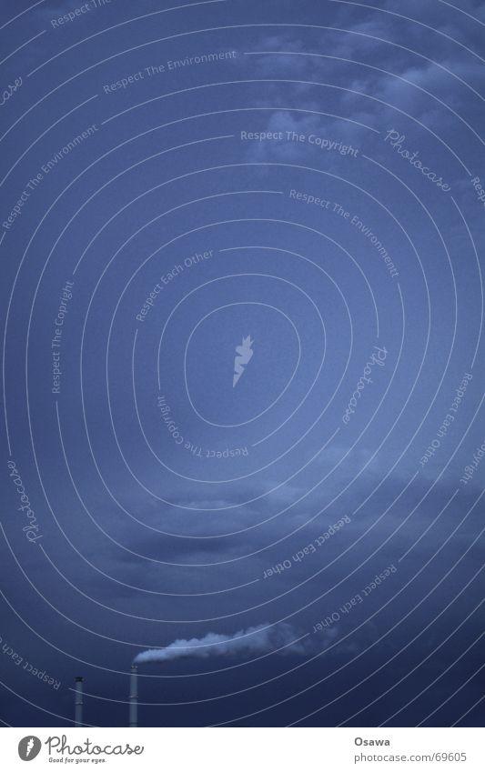 Für Tinka und Carlitos Himmel blau Wolken Ferne Wind Rauch Schornstein Wasserdampf Stromkraftwerke Smog