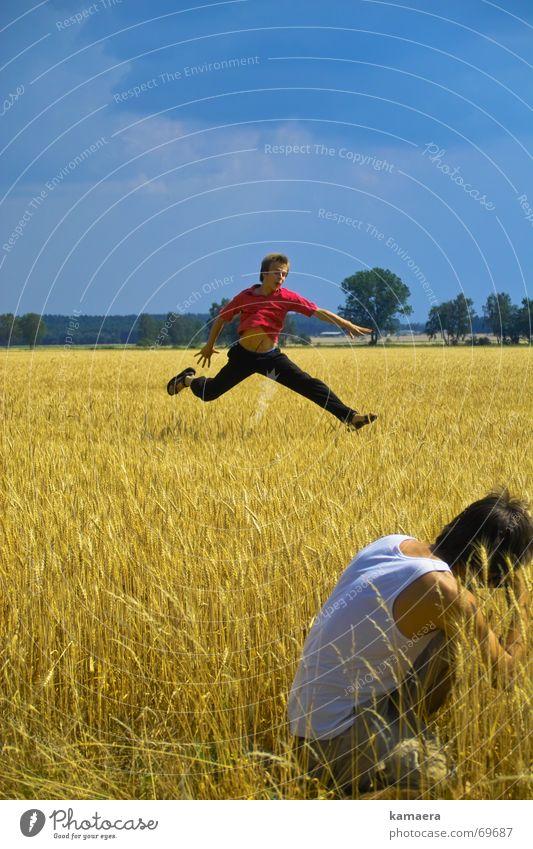Kitz und Förster Sommer Freude springen Stil Feld Fotografie schießen Reh Rehkitz