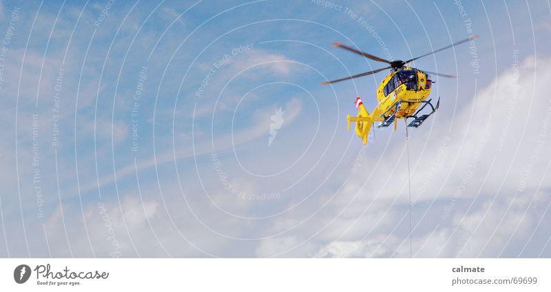 - rettungsflug - Himmel gelb fliegen Suche Hilfsbereitschaft Schweben Hubschrauber Helfer