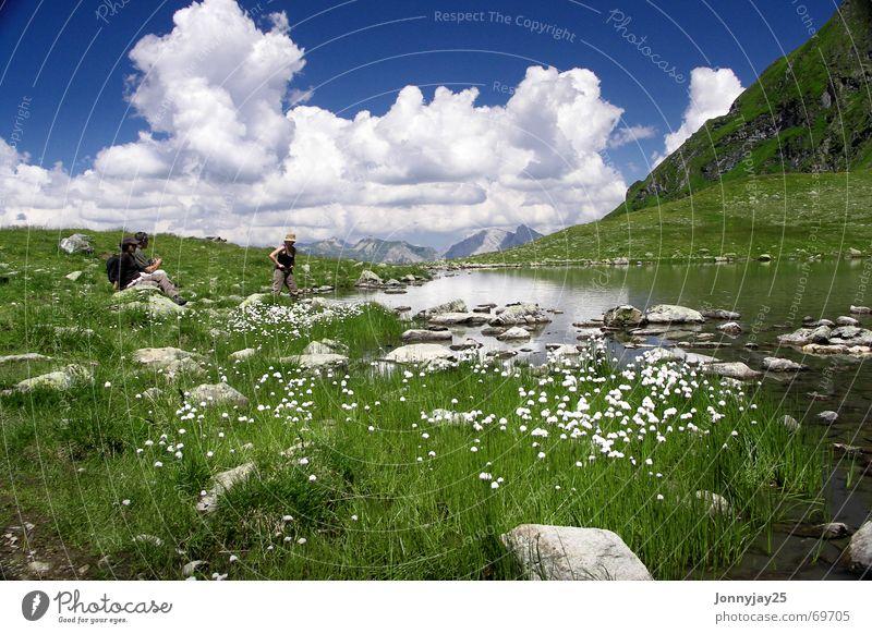Bergsee See Wiese grün Wolken ruhig Ferien & Urlaub & Reisen Österreich Pause Gebirgssee Sommer Berge u. Gebirge Himmel Erholung kaltes klares wasser Wasser